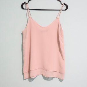 Zara blush pink chiffon tank blouse layered medium